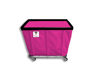 "R&B Wire - R&B Wire #408SO 8 Bushel Permanent Liner Basket Truck - Hot Pink Liner, 4"" Casters, Corner (2 Swivel & 2 Rigid)"