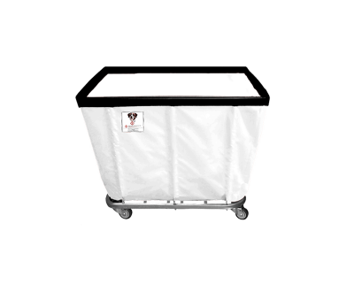 "R&B Wire - R&B Wire #408SO 8 Bushel Permanent Liner Basket Truck - White Liner, 4"" Casters, Diamond (2 Swivel & 2 Rigid)"