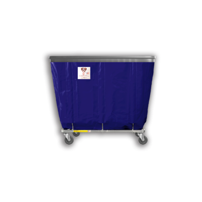 "R&B Wire - R&B Wire #406SOB 6 Bushel Permanent Liner Basket Truck with Bumper - Navy Liner, 3"" Casters, Corner (All Swivel)"