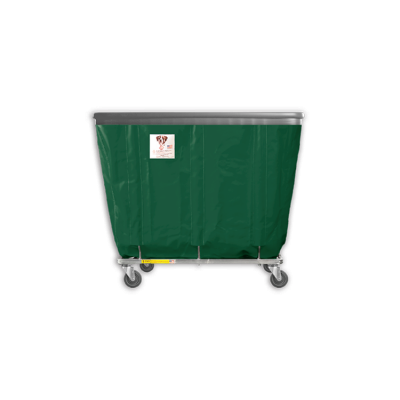 "R&B Wire - R&B Wire #406SOB 6 Bushel Permanent Liner Basket Truck with Bumper - Green Liner, 3"" Casters, Corner (All Swivel)"