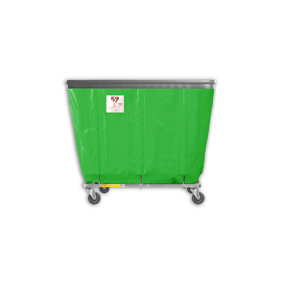 "R&B Wire - R&B Wire #406SOB 6 Bushel Permanent Liner Basket Truck with Bumper - Jelly Bean Green Liner, 3"" Casters, Corner (All Swivel)"