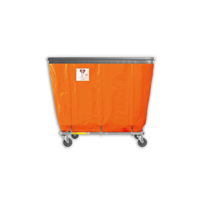 "R&B Wire - R&B Wire #406SOB 6 Bushel Permanent Liner Basket Truck with Bumper - Sunset Orange Liner, 3"" Casters, Corner (All Swivel)"