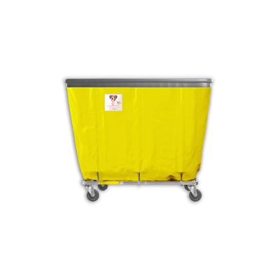 "R&B Wire - R&B Wire #406SOB 6 Bushel Permanent Liner Basket Truck with Bumper - Yellow Liner, 4"" Casters, Corner (All Swivel)"