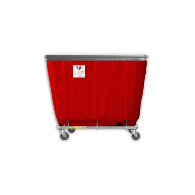 """R&B Wire - R&B Wire #406SOB 6 Bushel Permanent Liner Basket Truck with Bumper - Red Liner, 4"""" Casters, Corner (All Swivel)"""