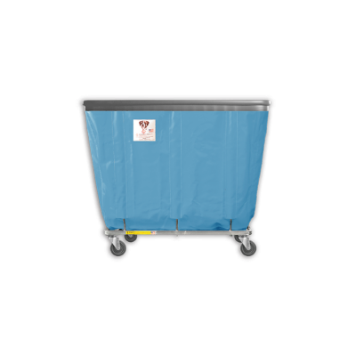"R&B Wire - R&B Wire #406SOB 6 Bushel Permanent Liner Basket Truck with Bumper - Blue Liner, 4"" Casters, Corner (All Swivel)"