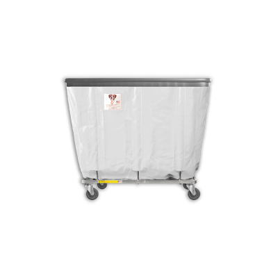 "R&B Wire - R&B Wire #406SOB 6 Bushel Permanent Liner Basket Truck with Bumper - White Liner, 4"" Casters, Corner (All Swivel)"