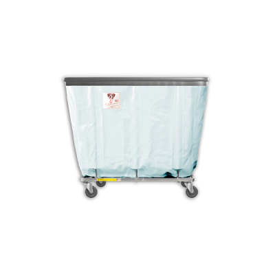 "R&B Wire - R&B Wire #406SOB 6 Bushel Permanent Liner Basket Truck with Bumper - Icy White Liner, 4"" Casters, Corner (All Swivel)"