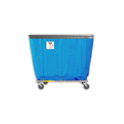 "R&B Wire - R&B Wire #406SOB 6 Bushel Permanent Liner Basket Truck with Bumper - Electric Blue Liner, 4"" Casters, Corner (All Swivel)"