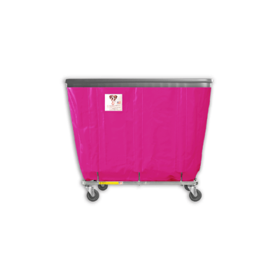 "R&B Wire - R&B Wire #406SOB 6 Bushel Permanent Liner Basket Truck with Bumper - Hot Pink Liner, 3"" Casters, Corner (2 Swivel & 2 Rigid)"