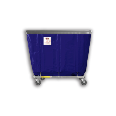"R&B Wire - R&B Wire #408SOB 8 Bushel Permanent Liner Basket Truck with Bumper - Navy Liner, 3"" Casters, Corner (All Swivel)"