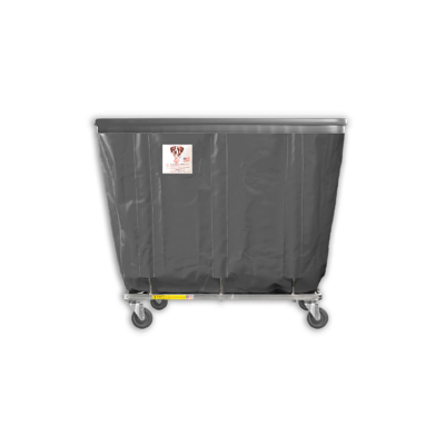 "R&B Wire - R&B Wire #408SOB 8 Bushel Permanent Liner Basket Truck with Bumper - Gray Liner, 3"" Casters, Corner (All Swivel)"