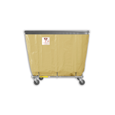 "R&B Wire - R&B Wire #408SOB 8 Bushel Permanent Liner Basket Truck with Bumper - Beige Liner, 3"" Casters, Corner (All Swivel)"