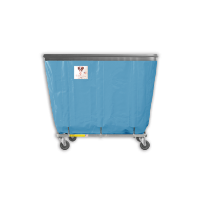 "R&B Wire - R&B Wire #408SOB 8 Bushel Permanent Liner Basket Truck with Bumper - Blue Liner, 3"" Casters, Corner (All Swivel)"