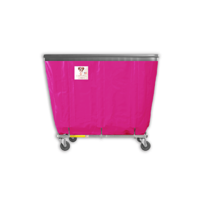 "R&B Wire - R&B Wire #408SOB 8 Bushel Permanent Liner Basket Truck with Bumper - Hot Pink Liner, 3"" Casters, Corner (All Swivel)"