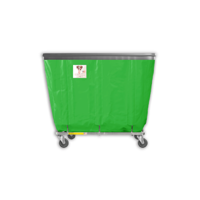 "R&B Wire - R&B Wire #408SOB 8 Bushel Permanent Liner Basket Truck with Bumper - Jelly Bean Green Liner, 3"" Casters, Corner (All Swivel)"