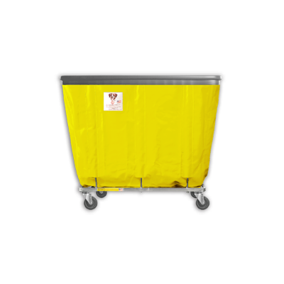 "R&B Wire - R&B Wire #408SOB 8 Bushel Permanent Liner Basket Truck with Bumper - Yellow Liner, 4"" Casters, Corner (All Swivel)"