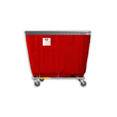 "R&B Wire - R&B Wire #408SOB 8 Bushel Permanent Liner Basket Truck with Bumper - Red Liner, 4"" Casters, Corner (All Swivel)"