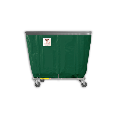 "R&B Wire - R&B Wire #408SOB 8 Bushel Permanent Liner Basket Truck with Bumper - Green Liner, 4"" Casters, Corner (All Swivel)"