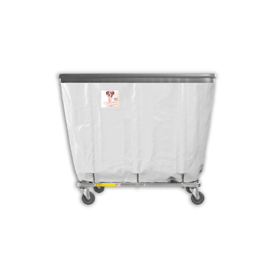 "R&B Wire - R&B Wire #408SOB 8 Bushel Permanent Liner Basket Truck with Bumper - White Liner, 4"" Casters, Corner (All Swivel)"