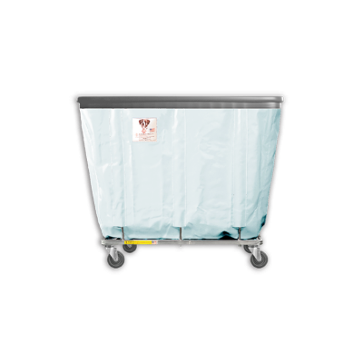 """R&B Wire - R&B Wire #408SOB 8 Bushel Permanent Liner Basket Truck with Bumper - Icy White Liner, 4"""" Casters, Corner (All Swivel)"""