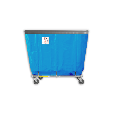 "R&B Wire - R&B Wire #408SOB 8 Bushel Permanent Liner Basket Truck with Bumper - Electric Blue Liner, 4"" Casters, Corner (All Swivel)"