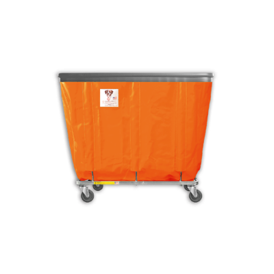 "R&B Wire - R&B Wire #408SOB 8 Bushel Permanent Liner Basket Truck with Bumper - Sunset Orange Liner, 3"" Casters, Diamond (2 Swivel & 2 Rigid)"