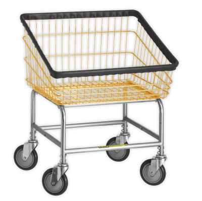 R&B Wire - R&B Wire #100T Front Load Laundry Cart - Gray Base, Almond Basket