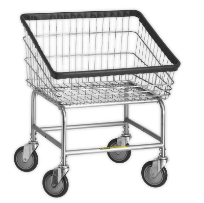 R&B Wire - R&B Wire #100T Front Load Laundry Cart - Chrome Base, Blue Basket