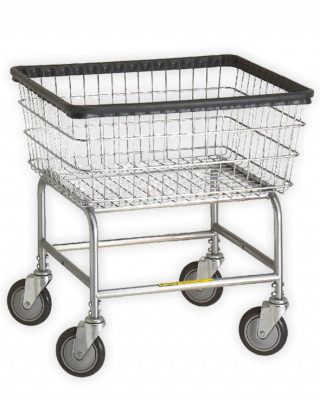 R&B Wire - R&B Wire #100D Narrow Laundry Cart Gray Base, Chrome Basket - CartsPros