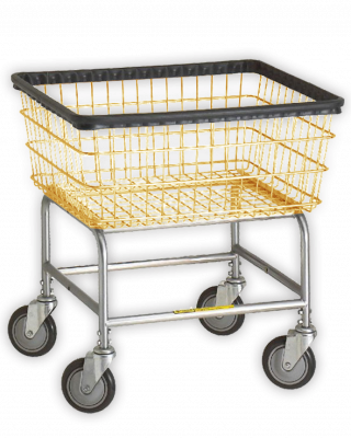 R&B Wire - R&B Wire #100D Narrow Laundry Cart - Gray Base, Almond Basket