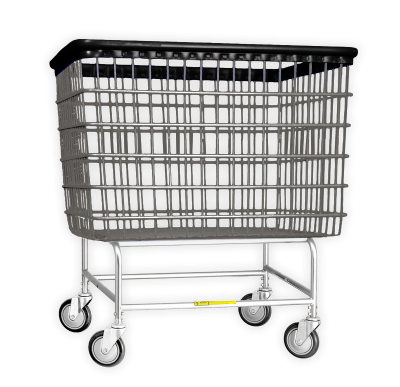 "R&B Wire - R&B Wire #200H Large Capacity 6 Bu. ""Big Dog"" Laundry Cart - Chrome Base, Gray Basket"