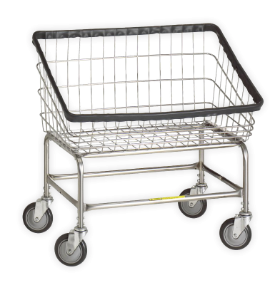 R&B Wire - R&B Wire #200S Large Capacity Front Load Laundry Cart - Beige Base, Chrome Basket