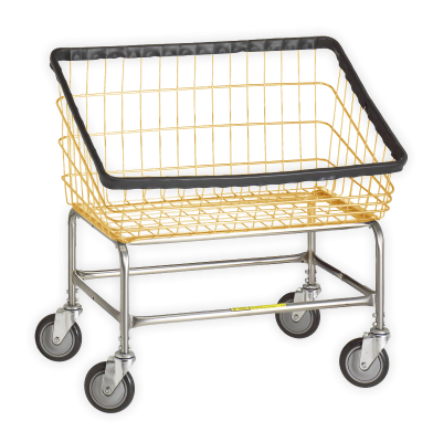 R&B Wire - R&B Wire #200S Large Capacity Front Load Laundry Cart - Chrome Base, Almond Basket