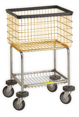 R&B Wire - R&B Wire #300G Deluxe Elevated Laundry Cart - Almond Basket