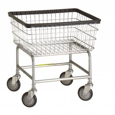 R&B Wire - R&B Wire #100E Standard Laundry Cart - Beige Base, Chrome Basket