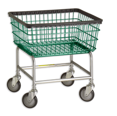 R&B Wire - R&B Wire #100E Standard Laundry Cart - Chrome Base, Green Basket