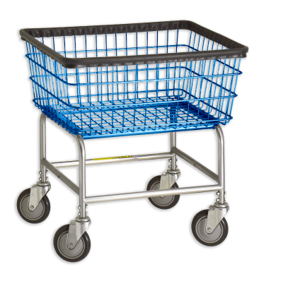R&B Wire - R&B Wire #100E Standard Laundry Cart Chrome Base, Blue Basket - CartsPros