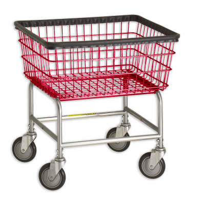 R&B Wire - R&B Wire #100E Standard Laundry Cart - Beige Base, Red Basket