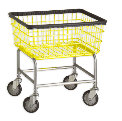 R&B Wire - R&B Wire #100E Standard Laundry Cart - Gray Base, Yellow Basket