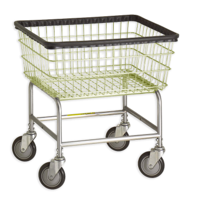 R&B Wire - R&B Wire #100E Standard Laundry Cart - Chrome Base, Almond Basket
