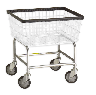 R&B Wire - R&B Wire #100E Standard Laundry Cart - Chrome Base, White Basket
