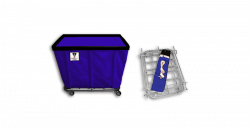 "R&B Wire - R&B Wire #406KD/ANTI 6 Bushel ""UPS/FEDEX-ABLE"" Truck (Anti-Microbial) - Navy Liner, 4"" Casters, Diamond (2 Swivel & 2 Rigid) - Image 1"