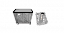 "R&B Wire - R&B Wire #406KD/ANTI 6 Bushel ""UPS/FEDEX-ABLE"" Truck (Anti-Microbial) - Gray Liner, 3"" Casters, Corner (All Swivel) - Image 1"