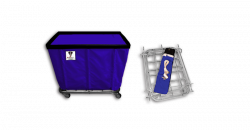 "R&B Wire - R&B Wire #408KD/ANTI 8 Bushel ""UPS/FEDEX-ABLE"" Truck (Anti-Microbial) - Navy Liner, 4"" Casters, Corner (All Swivel) - Image 1"
