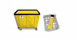 "R&B Wire - R&B Wire #408KD/ANTI 8 Bushel ""UPS/FEDEX-ABLE"" Truck (Anti-Microbial) - Yellow Liner, 3"" Casters, Corner (2 Swivel & 2 Rigid) - Image 1"