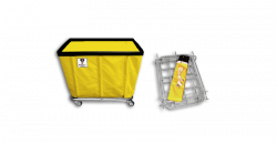 "R&B Wire - R&B Wire #406KD 6 Bushel ""UPS/FEDEX-ABLE"" Truck - Yellow Liner, 3"" Casters, Corner (All Swivel) - Image 1"