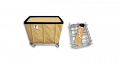 "R&B Wire - R&B Wire #406KD 6 Bushel ""UPS/FEDEX-ABLE"" Truck - Beige Liner, 4"" Casters, Corner (All Swivel) - Image 1"