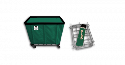 """R&B Wire - R&B Wire #406KD 6 Bushel """"UPS/FEDEX-ABLE"""" Truck - Forest Liner, 3"""" Casters, Corner (All Swivel) - Image 1"""