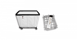 "R&B Wire - R&B Wire #406KD 6 Bushel ""UPS/FEDEX-ABLE"" Truck - White Liner, 3"" Casters, Corner (2 Swivel & 2 Rigid) - Image 1"