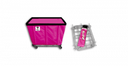 "R&B Wire - R&B Wire #406KD 6 Bushel ""UPS/FEDEX-ABLE"" Truck - Hot Pink Liner, 4"" Casters, Corner (All Swivel) - Image 1"